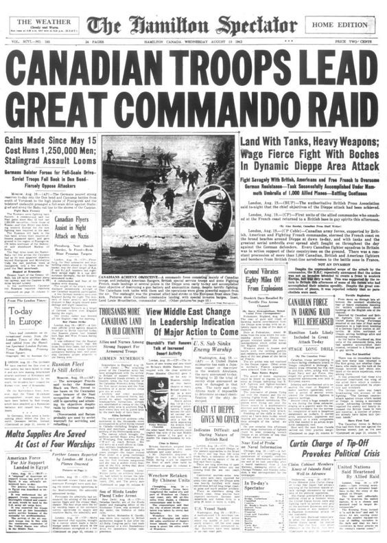 Click image for larger version.  Name:01.00. 1 dieppe raid newspaper 1.jpg Views:7 Size:165.3 KB ID:2121274
