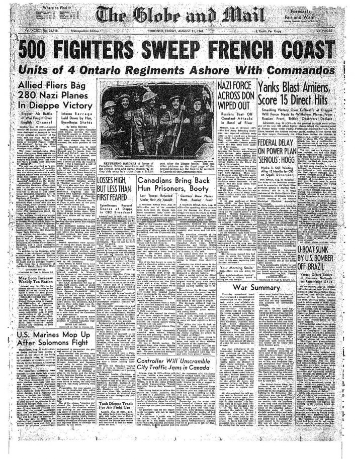 Click image for larger version.  Name:01.00. 1 dieppe raid newspaper 3.jpg Views:13 Size:308.3 KB ID:2121290