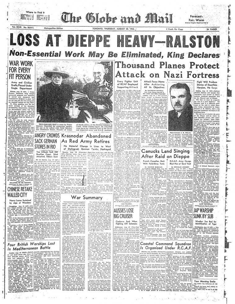 Click image for larger version.  Name:01.00. 1 dieppe raid newspaper 4.jpg Views:15 Size:313.3 KB ID:2121298