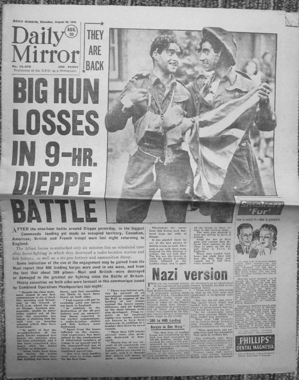 Click image for larger version.  Name:01.00. 1 dieppe raid newspaper 6.jpg Views:16 Size:298.8 KB ID:2121314