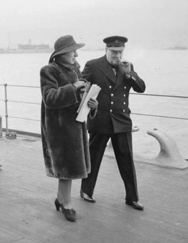 Click image for larger version.  Name:01.00. 10 b Churchill on deck of HMS DUKE OF YORK with his secretary Mrs Hill.jpg Views:3 Size:196.6 KB ID:2146402