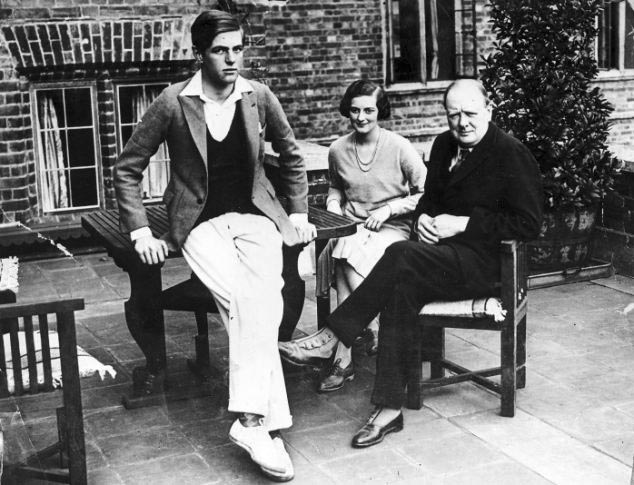 Click image for larger version.  Name:01.00. 3 1 Chartwell Mansion, Churchill with his son Randolph and daughter Diana.jpg Views:3 Size:94.3 KB ID:2135730