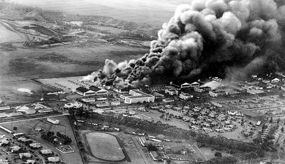 Click image for larger version.  Name:01.00. 3 4 1 3 Pearl Harbor Japanese attack Planes and hangars burning at Wheeler Army Air Field.jpg Views:4 Size:68.7 KB ID:2135802