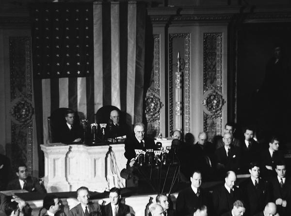 Click image for larger version.  Name:01.00. 3 4 1 8 December 1941 Date of Infamy Speech  Listening are Vice President Henry Wallace, .jpg Views:2 Size:38.0 KB ID:2138282