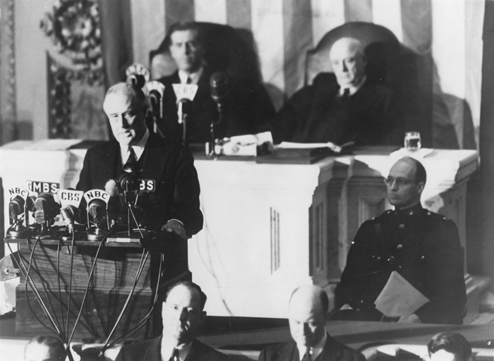 Click image for larger version.  Name:01.00. 3 4 1 8 December 1941 Date of Infamy Speech Listening are Vice President Henry Wallace, l.jpg Views:2 Size:187.8 KB ID:2138290