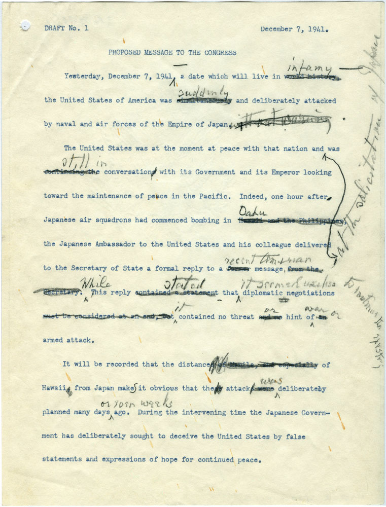 Click image for larger version.  Name:01.00. 3 4 2 8 December 1941 draft Date of Infamy Speech draft 1.jpg Views:1 Size:190.9 KB ID:2138314