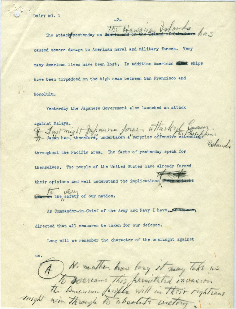Click image for larger version.  Name:01.00. 3 4 2 8 December 1941 draft Date of Infamy Speech draft 2.jpg Views:2 Size:176.9 KB ID:2138322