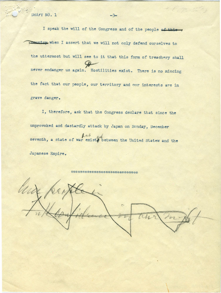 Click image for larger version.  Name:01.00. 3 4 2 8 December 1941 draft Date of Infamy Speech draft 3.jpg Views:2 Size:146.5 KB ID:2138330