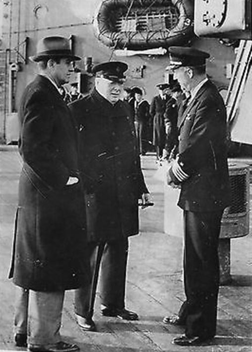 Click image for larger version.  Name:01.00. 31 HMS Duke of York Harriman, Churchill and Capt. Paul Cassard, U.S.N., who came aboard a.jpg Views:1 Size:83.4 KB ID:2153930