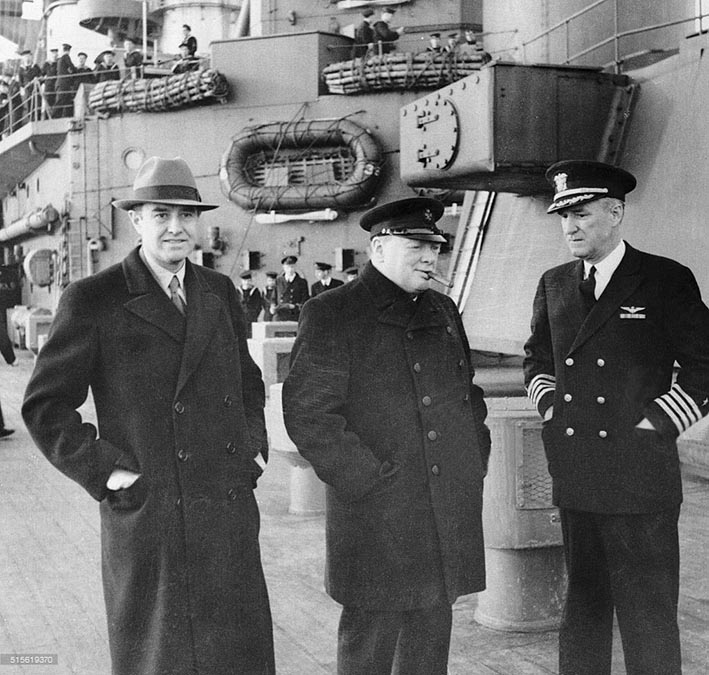 Click image for larger version.  Name:01.00. 31 HMS Duke of York Harriman, Churchill and Capt. Paul Cassard, U.S.N., who came aboard a.jpg Views:1 Size:126.8 KB ID:2153938