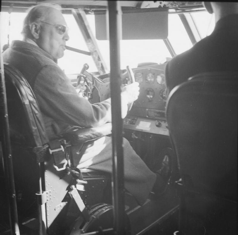 Click image for larger version.  Name:01.00. 84 Churchill at controls of the Boeing 314a Clipper with Cpt John Kelly-Rodgers flying bo.jpg Views:3 Size:72.7 KB ID:2172554