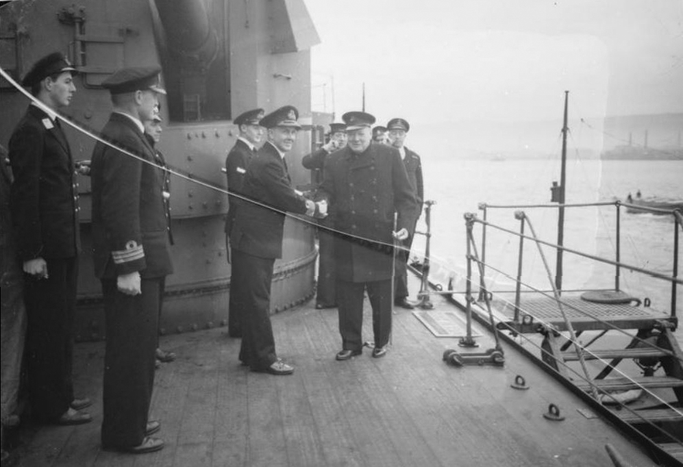 Click image for larger version.  Name:01.00. 9 04 Captain Harcourt, in command of the DUKE OF YORK, greets Mr Churchill as he arrived .jpg Views:2 Size:267.2 KB ID:2142362