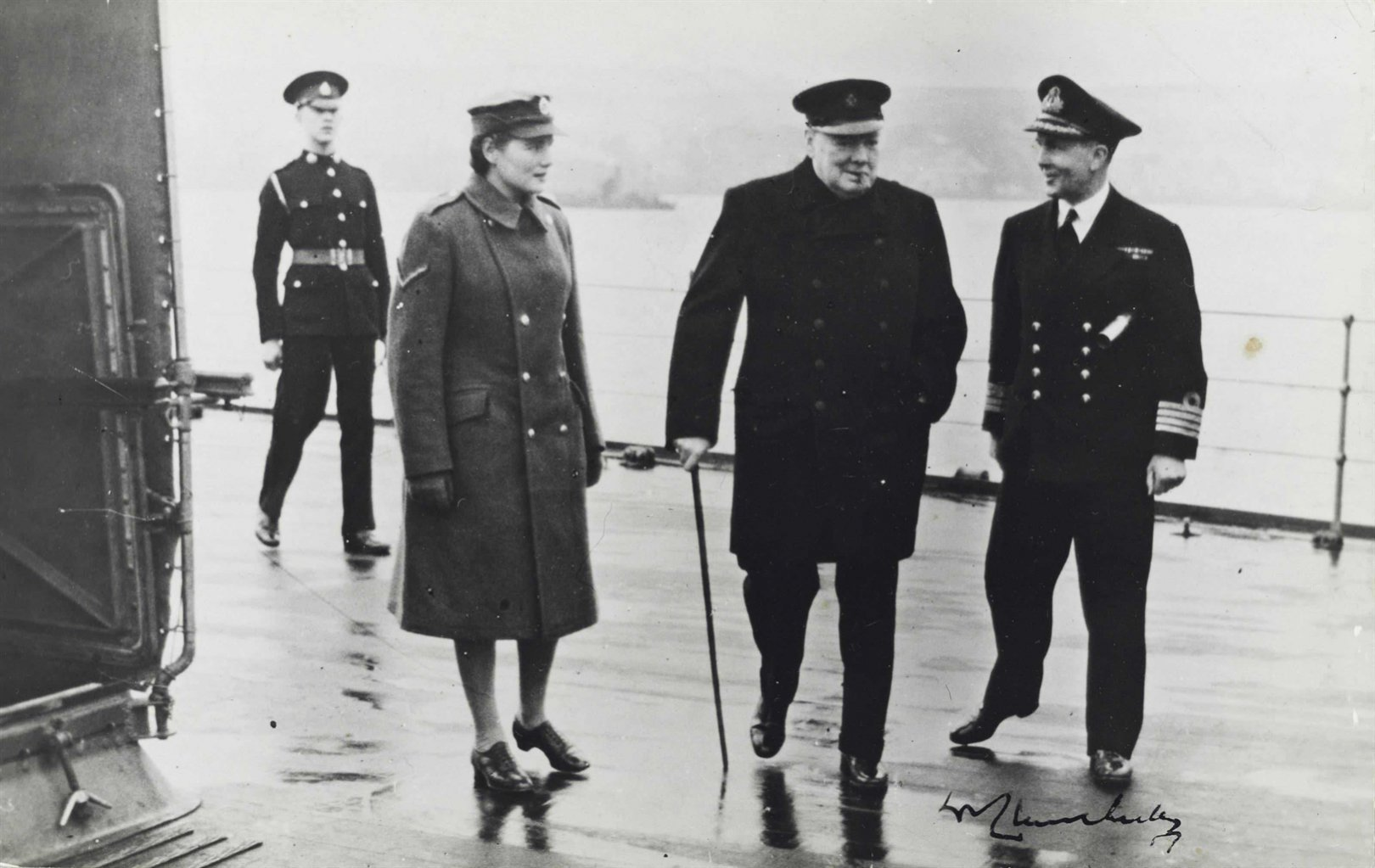 Click image for larger version.  Name:01.00. 9 04 Captain Harcourt, in command of the DUKE OF YORK, shows Mary and Winston Churchill h.jpg Views:3 Size:179.7 KB ID:2142370