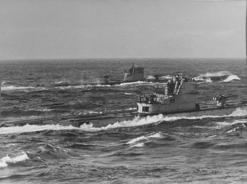 Click image for larger version.  Name:01.04. 1 4 n 9 U-180 (left) and U-518 photograph taken during destroyer escort on 1 or 2 July 19.jpg Views:1 Size:92.9 KB ID:2317178