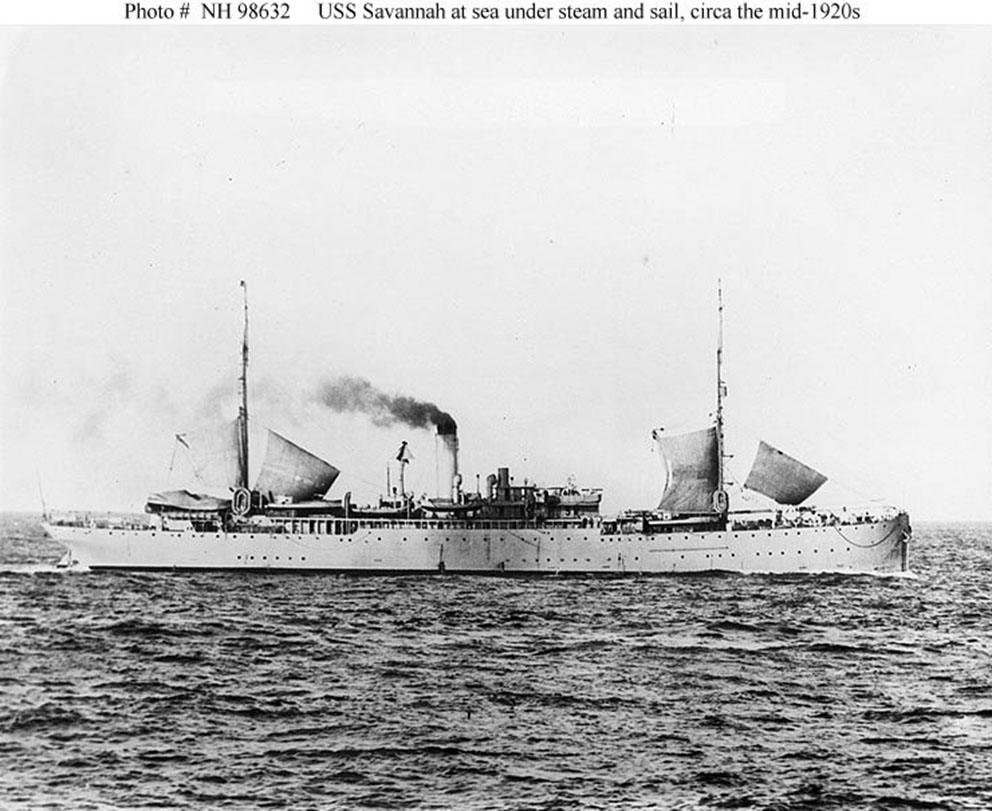 Click image for larger version.  Name:1. 0 4 2 2 USS Savannah (AS-8) at sea under sail and steam, circa the mid-1920s.jpg Views:2 Size:151.9 KB ID:3675067