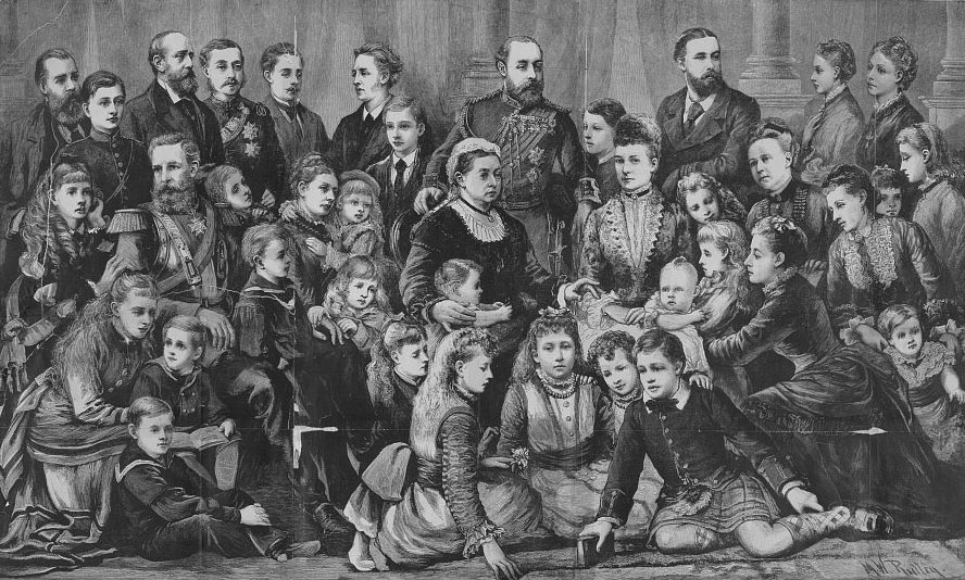 Click image for larger version.  Name:1. 1 0 2 2 Queen Victoria with her nine children, six of their spouses, and 23 grandchildren..jpg Views:1 Size:190.1 KB ID:3645375