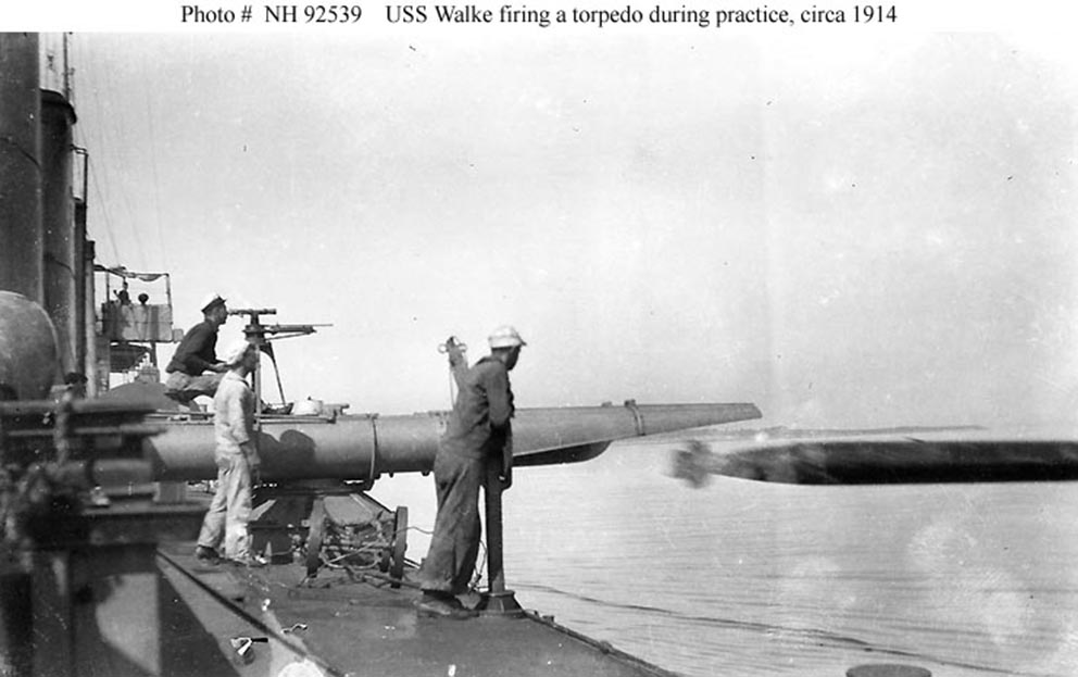 Click image for larger version.  Name:1.1. 2 1 2 broken deckers 2 1 flivvers USS Walke, firing an 18-inch torpedo.jpg Views:2 Size:80.4 KB ID:3677567