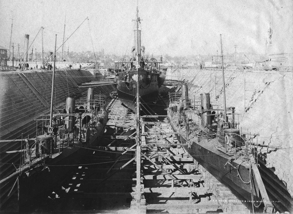 Click image for larger version.  Name:1.1. 2 2 1 0 2 Ram USS Fox (TB 13) and USS Davis (TB 12) are seen forward of USS Marblehead in M.jpg Views:1 Size:180.6 KB ID:3678051
