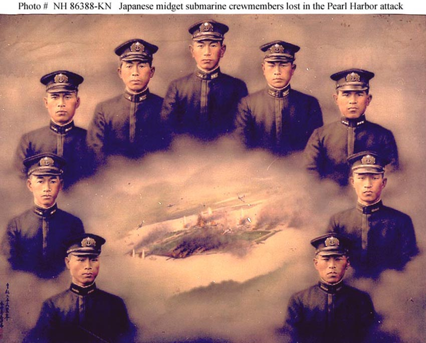 Click image for larger version.  Name:1.1. 2 2 4 11 6 Midget submariners for Pearl Harbor without Ensign Kazuo Sakamaki.jpg Views:1 Size:113.8 KB ID:3679481