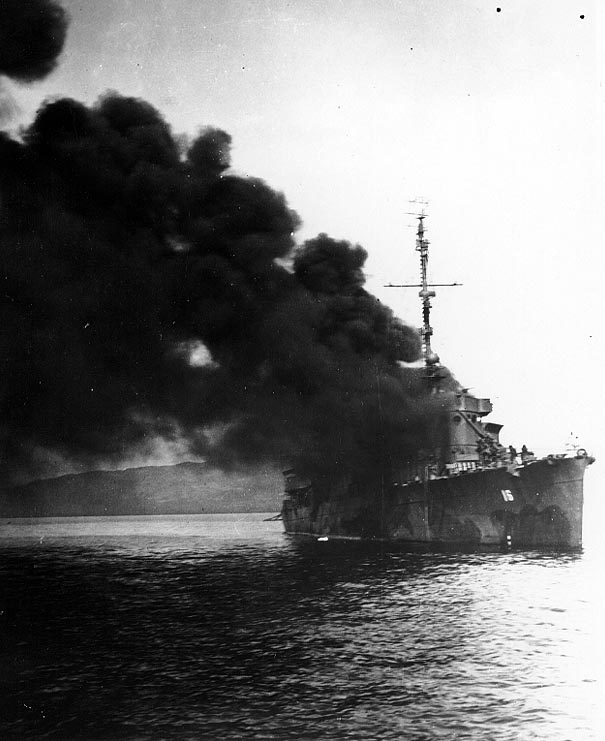 Click image for larger version.  Name:1.1. 2 2 4 40 USS Ward (APD-16), after being hit by a kamikaze.jpg Views:1 Size:61.7 KB ID:3681675
