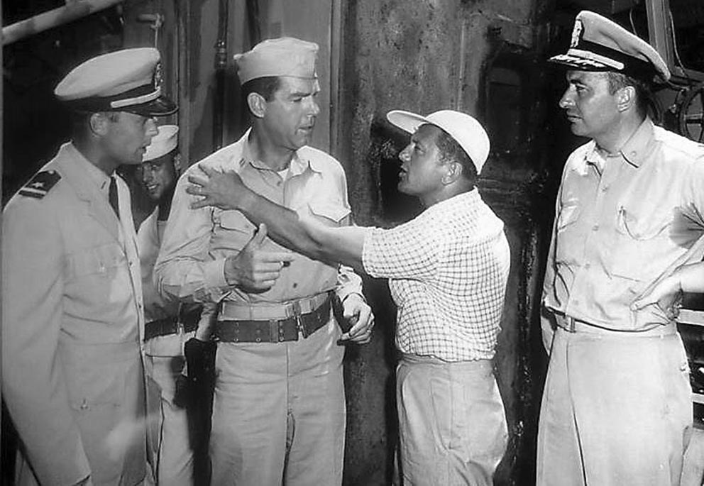 Click image for larger version.  Name:1.1. 3 0 3 The Caine Mutiny Robert Francis and Fred MacMurray receive direction from Edward Dmyt.jpg Views:1 Size:122.7 KB ID:3682889