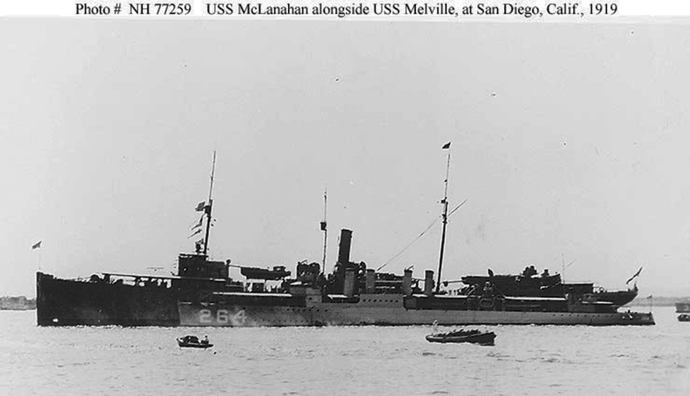 Click image for larger version.  Name:1. 3 USS Melville with USS McLanahan (Destroyer # 264) tied up alongside at San Diego, CA.jpg Views:2 Size:109.0 KB ID:3675625
