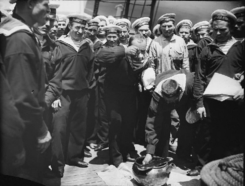 Click image for larger version.  Name:2.2. 7 2 Czarist Imperial Russian sailors on the Russian cruiser Dmitrii Donskoi taking their da.jpg Views:1 Size:165.8 KB ID:3652145