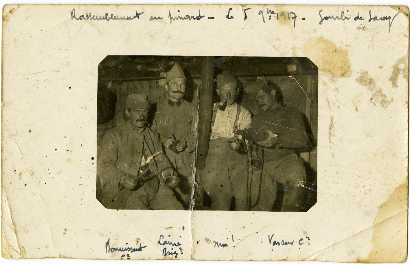 Click image for larger version.  Name:2.3.1. 3 1 9 PINARD 1 WW1 French soldiers drink some Pinard wine during a break in the trenches..jpg Views:1 Size:200.9 KB ID:3653519