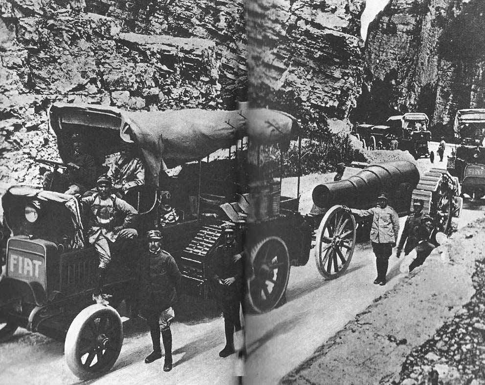 Click image for larger version.  Name:2.3.2. 11 12th Isonzo Battle Italian mechanized transport coloumn retreats during the Battle of .jpg Views:1 Size:208.4 KB ID:3655643