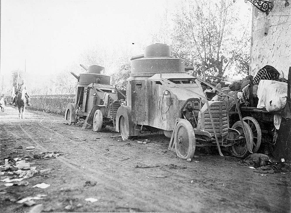 Click image for larger version.  Name:2.3.2. 16 3 Caporetto Italian Lancia 1Z armored cars captured by the Austro-Hungarians in S. Tom.jpg Views:1 Size:126.5 KB ID:3655681