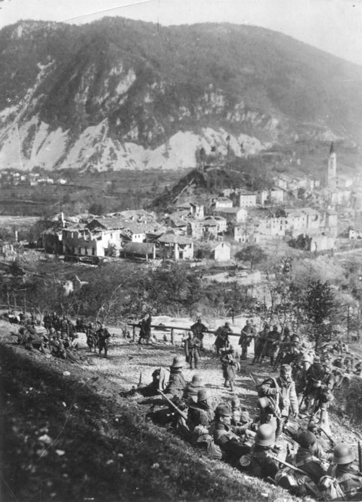 Click image for larger version.  Name:2.3.2. 9 12th Isonzo Battle German and Austrian troops rest, in the background Santa Lucia, Octo.jpg Views:1 Size:230.6 KB ID:3655611