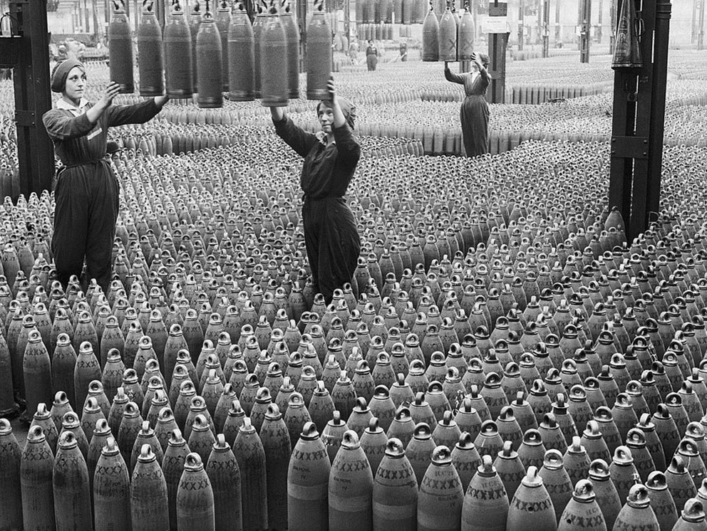 Click image for larger version.  Name:3. 1 3 WW1 female munition workers 4 guide 6 inch howitzer shells being lowered to the factory f.jpg Views:1 Size:290.8 KB ID:3668369
