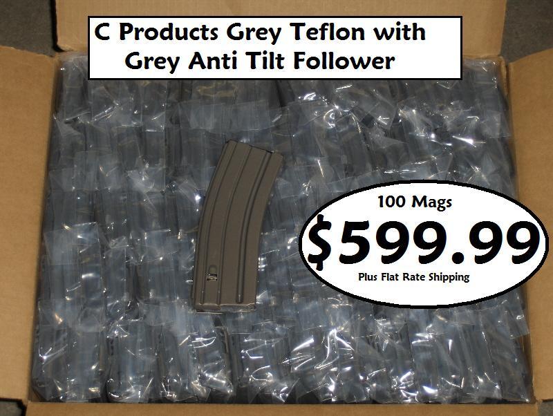 WTS:C Products AR15 30rd Grey Teflon/Grey Follower - Sponsor Display