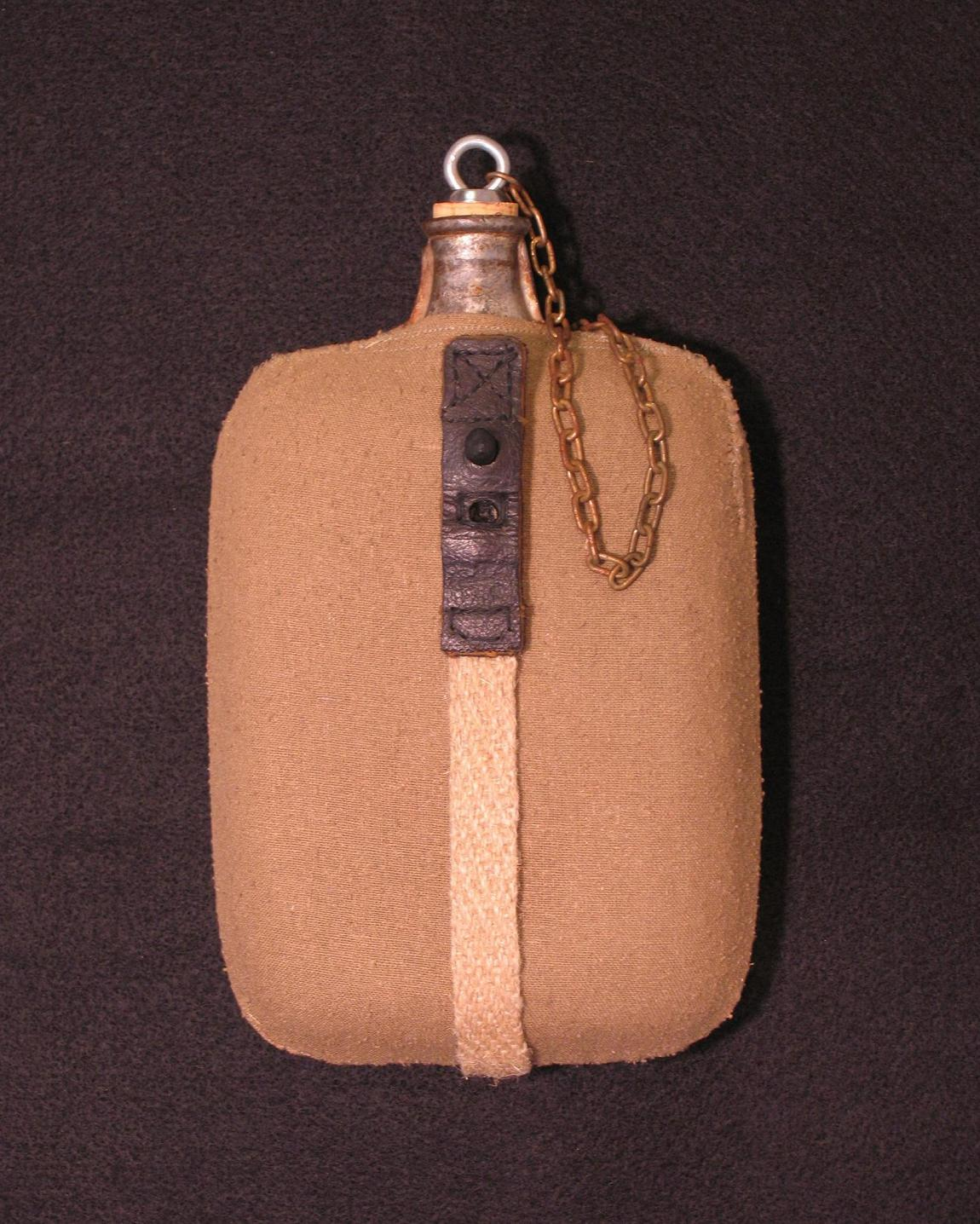 Click image for larger version.  Name:Italian M1917 Water Bottle w Repro Cover - Strap R1.JPG Views:19 Size:256.8 KB ID:477920
